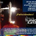 """#Felicidades Celebremos el 1er aniversario del satélite #TupacKatari""""Llegamos al Cielo para Vivir Bien en la tierra"""" http://t.co/cFY2XnQvrG"""