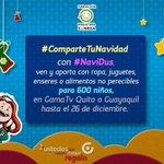 Únete a #NaviDUS #ComparteTuNavidad y lleva tus regalos a @Gamatvec en #UIO y #GYE dibuja sonrisas navideñas http://t.co/CycDCsMwuZ