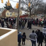 View from front door of police station. #BlackLivesMatter #Ferguson2CLE http://t.co/Hh68fBTQZO