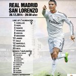 Our starting XI against San Lorenzo! #RealMadridvsSAN #HalaMadrid #RMLive http://t.co/qAH28MYKh2