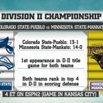 Colorado State-Pueblo plays Minnesota State Mankat in the DII title game on ESPN2 Watch here: http://t.co/il94iPt4HJ http://t.co/Qb86qPvEmS