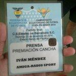 Listo ya con la Credencial del @Emelec para la premiacion en el Capwell Final de Vuelta @Emelec vs #BSC http://t.co/DxQwihWtbY