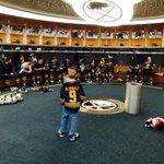 Austin McDonald, age 9, stops by the locker room pregame, meets Doug Allen & then Rick Jeanneret @MakeAWish #COLvsBUF http://t.co/hGoV3EFaNS