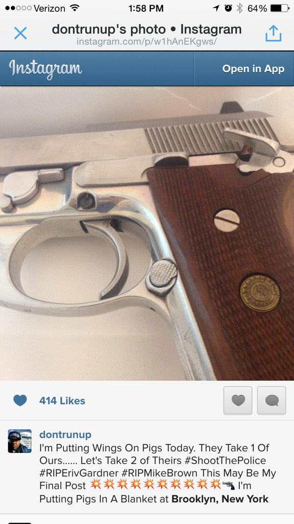 This was apparently the Instagram acct of the #NYPD shooter making a post that he was about to kill 2 cops http://t.co/PSJgRIfOIy