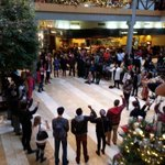 Not quite 40 #BlackLivesMatter protesters singing inside mall at Bellevue square. #Seattle http://t.co/K2YXzX2yN1