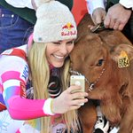 Strange But True: Skier Lindsey Vonn wins womens World Cup downhill in France today.   Her prize... a baby cow! http://t.co/7xTu7PhcxP