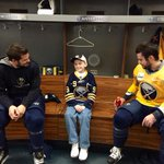 Austin McDonald, age 9, part of ceremonial puck drop. He visited the locker room earlier. @MakeAWish #COLvsBUF http://t.co/8l9f98caLS