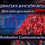 Gracias #FamiliaRoja por seguir creyendo en nuestro equipo. Felicidades @CremasOficial. http://t.co/iEAInt6jim