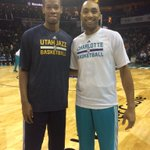 Duke Alums & All-ACC performers @rodneymhood and @GhJr09 share a quick hello before tonights Hornets-Jazz matchup! http://t.co/13sPJxg46t