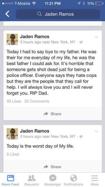 Son of slain NYPD officer Raphael Ramos writes heartbreaking Facebook post http://t.co/rf7V9kCwe3