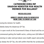 """Statement from @CatherineKingMP re Abbott Ministry #reshuffle: """"Dutton gone, now time too to drop the GP copayment"""" http://t.co/YjhKGRFngx"""