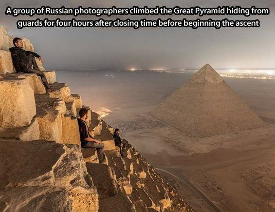 Unbelievable Photo Taken by the Crazy Russians Who Illegally Climbed Egypt's Great Pyramid: http://t.co/JlTvqt7T58
