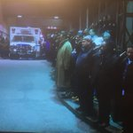 Procession honoring fallen #nypd officers leaving hospital now. #brooklyn http://t.co/iOMKf4Aa2m