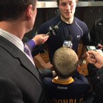 Postgame: Austin McDonald holds the mic for @dan_dunleavy in interview with Johan Larsson. #COLvsBUF http://t.co/5SnyfSZ2e9