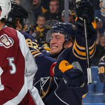 The smile of a 1st career @NHL goal. Congrats again to Johan Larsson! (@BWipp) #COLvsBUF http://t.co/36Wn2MjZoN
