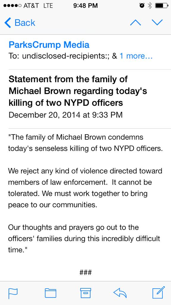 Statement from the family of Michael Brown regarding today's killing of two NYPD officers http://t.co/pwi6brkpZQ