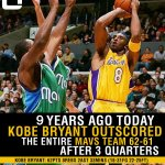 This day in History (05) @KobeBryant outscored the Mavs 62-61 after 3 quarters: http://t.co/JVlWjQvBTy http://t.co/2SEi4MA0nz