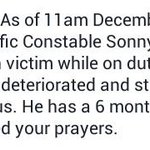 We need your prayers for Traffic Constable Sonny Acosta (hit and run victim while on duty). http://t.co/8htAfH2Qyj