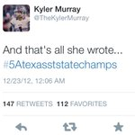 @TheKylerMurray all three years as a starting quarterback. #k1 #5Atexasststatechamps #3PEAT http://t.co/sRpf9qLP7b