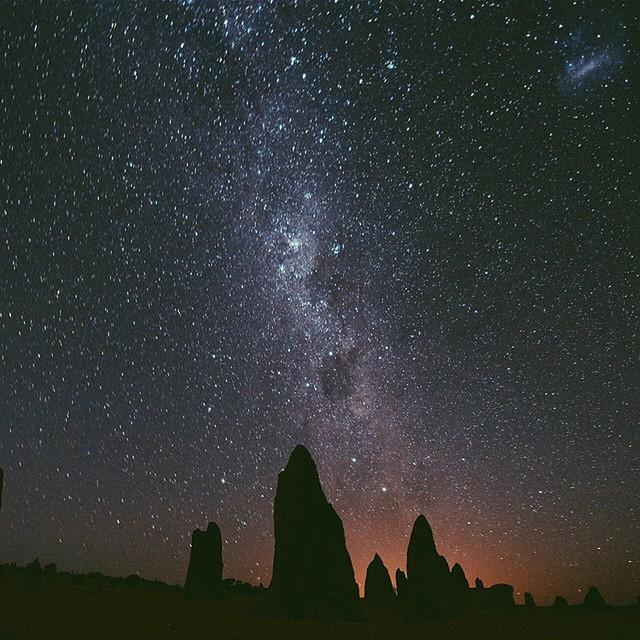 Amazing night sky over the Pinnacles in Nambung National Park, Western Australia photogr...