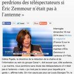 """MDRRR????.. Céline Pigalle (I>Télé) disait """"Nous perdrions des téléspectateurs si Éric Zemmour n'était pas à l'antenne"""" http://t.co/5KuBMatwX0"""
