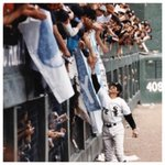 Legendary catcher Carlton Fisk reaches out to fans after the final game at Comiskey Park. 9/30/90 #Chicago @whitesox http://t.co/OWnZH6kcPN