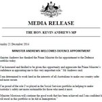 Minister @kevinandrewsmp Welcomes Defence Appointment #auspol http://t.co/o7pudg3DHc