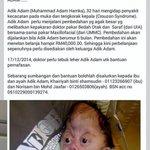 Subhanallah..mohon kita bantu anak ini.. RT sebarkan kepada semua #salutemalaysia http://t.co/QyaA3Omol1