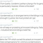 IK has condemn every single threat/terrorist attack. Whether TTP, LEJ or any other person or group is involve. http://t.co/R6YZR3nOnD