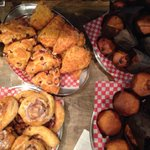 Cherry chocolate and cornmeal bacon muffins! Cranberry almond and tomato garlic cheese scones! Yum http://t.co/DX4L9gxQh1