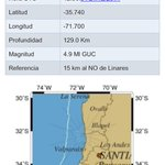 Magnitud del sismo 4,9 , epicentro 15 Km al NO de Linares. http://t.co/okRWJ8iE1b