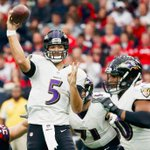 Houston leads Baltimore at half, 16-0.  Joe Flacco is struggling mightily: 3-18, 27 Yds, 2 Int http://t.co/T2TnHqgX49