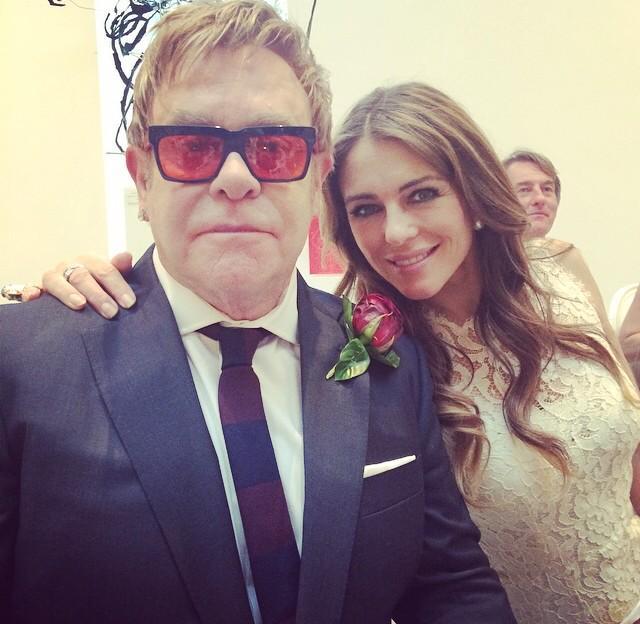 Elizabeth Hurley @elizabethhurley: Me and the Newly Wed Elton John #ShareTheLove #bestwedding ❤️❤️❤️ http://t.co/nqNPOdcUpw