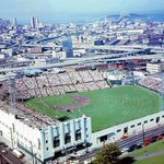 Color aerial of Seals Stadium 1958. @SFGiants 1st home in SF. AT&T Park is now to the right of (Bay) bridge (picd) http://t.co/CTXZqTyIut