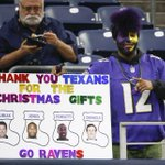 """Ravens fan with a """"thank you"""" list for the #Texans this Christmas (Pic via @USATODAYsports) http://t.co/QfJP7vYfRY"""