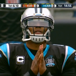 12 days after car accident, Cam Newton broke huddle on 1st play today, walked up to line of scrimmage and did this: http://t.co/Orac0OhBut