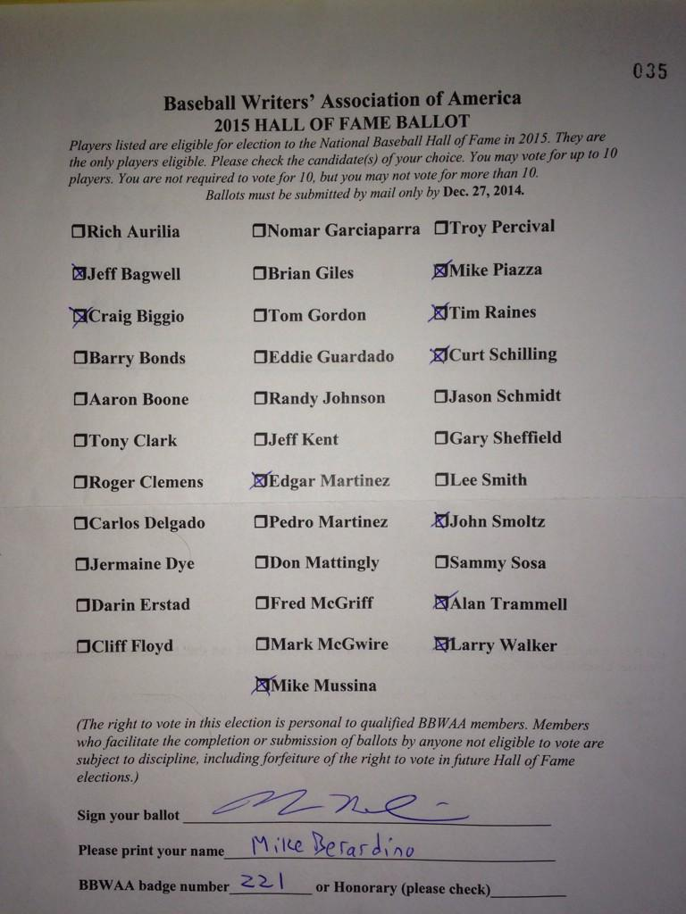 Yes, I left Randy, Pedro off my ballot. Counting on fellow BBWAA voters to elect. Trammell, Walker needed me more. http://t.co/z6OnfJtZAf