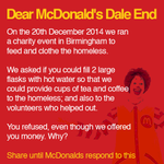 Dear @McDonaldsUK Why did you refuse to help the homeless in Birmingham?  Social media is powerful. Please RT. http://t.co/IOtuthIJbZ