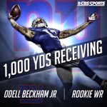 What a start in the NFL for Odell Beckham. The @Giants rookie is over 1,000 receiving yards on the season. http://t.co/i6GlOd8Mve
