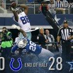 HALFTIME: Cowboys 28, Colts 0. #INDvsDAL http://t.co/YGkQ0LbYnJ http://t.co/zM8c1h7Lnq