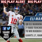BIG PLAY ALERT: QB Eli Manning hits WR Rueben Randle for a 7-yard touchdown! The #Giants lead 27-13 #NFL http://t.co/XGxsINskSo