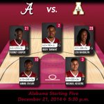 #Alabama returns to its normal starting five tonight! We are less than 15 mins from tipoff! #RollTide #APPvsBAMA http://t.co/clYRl2Chs5