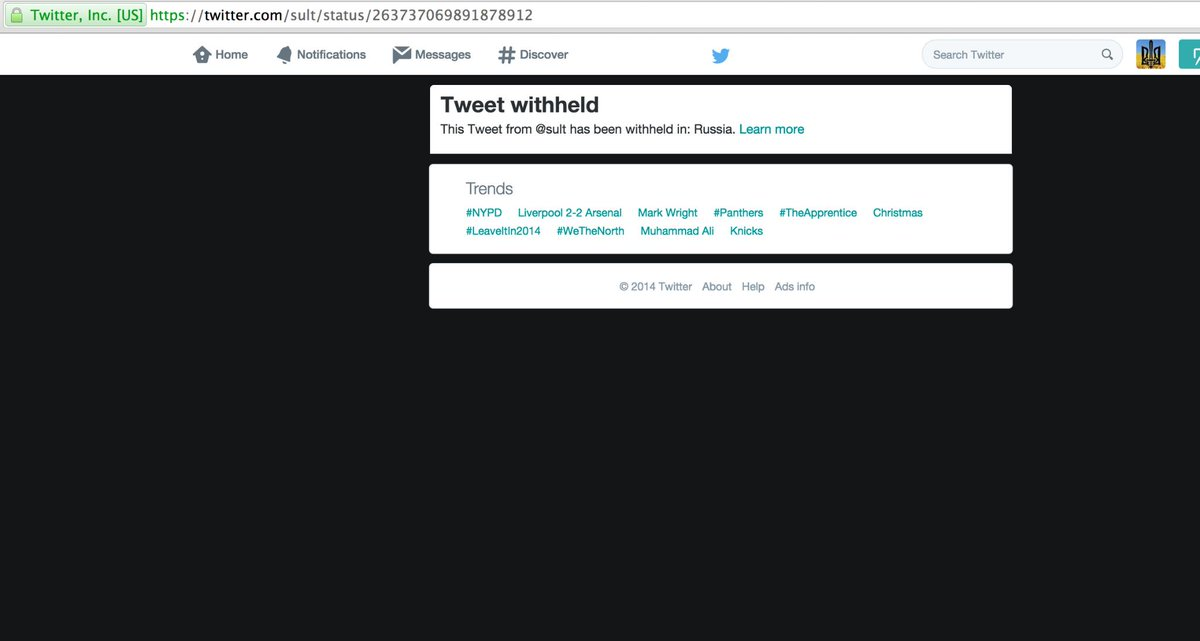 WOW. I can't believe this! @twitter censoring certain tweets in Russia. 1st After changing country to RF. 2nd to CA http://t.co/TERwSZzO6r