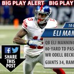 BIG PLAY ALERT: Odell Beckham Jr. with an 80-yard touchdown catch! The #Giants lead 34-20! #NFL http://t.co/0KxEXNo8lk