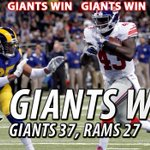 """@Giants: The #Giants defeat the #Rams, 37-27! View the best photos from the gameVIEW PHOTOS: http://t.co/PiNcFS3GRO http://t.co/m2TeKm6881"""