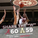 .@AlabamaMBB tops Appalachian State, 60-59, in a nail biter! Share the W! #RollTide http://t.co/PRAr1CFM2s
