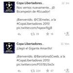 Así recibe la cuenta oficial de la Copa Libertadores a Emelec (Bicampeón de ECU) y a Barcelona (Gigante Amarillo): http://t.co/AkxpBcRb52