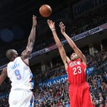 Pelicans hang on to beat Thunder, 101-99. Anthony Davis with another MONSTER game, scoring 38 Pts with 12 Reb, 3 Blk. http://t.co/P53G43v3Rv