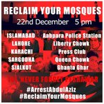 Its not just Islamabad. Karachi, Lahore, Sialkot & Sargodha are also joining us today 5pm #ArrestAbdulAziz see pic http://t.co/pvxPQS8R6D