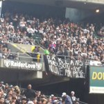 """Banner drop at the #Raiders game today. """"#Oakland, #Ferguson, #NYC. No love for the police."""" http://t.co/ORwc6yvaar"""